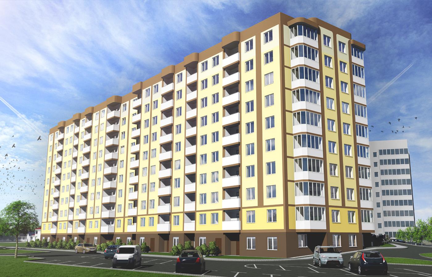 """Візуалазація житлового комплексу """"Банківський"""" з офісними приміщеннями, в м. Бориспіль вул. Банківська, 32"""