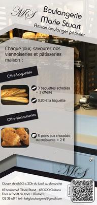 Dans le 1000 Communication - Agence graphique en Loir-et-Cher - Création de flyers, plaquettes, affiches, cartes de visite, banderoles - Boulangerie Marie Stuart Orléans