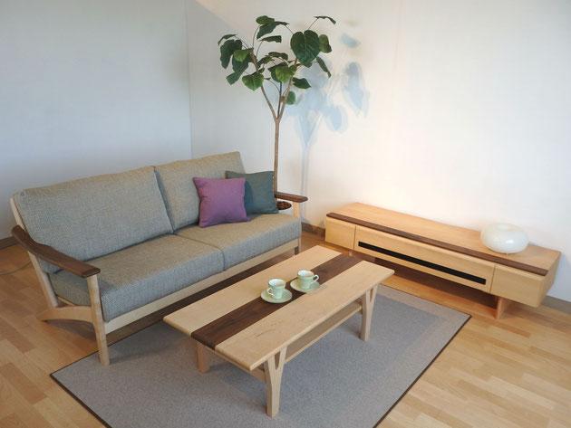 センターテーブル リビングテーブル メープルリッチSE 木 ナチュラル ウォールナット 栃木県家具 インテリア 東京デザインセンター