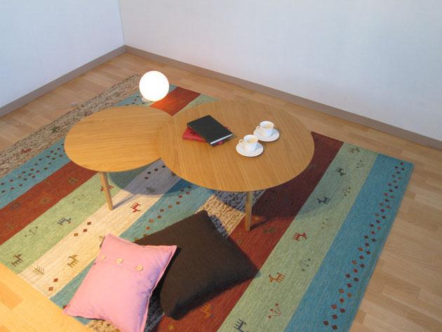座卓 リビング センターテーブル  ナチュラル 円形 バルーン 高野木工 栃木県家具 インテリア 東京デザインセンター