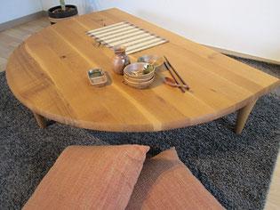 座卓 センターテーブル リビングテーブル 半円 飛騨産業 森のことば インテリア 家具 栃木県 東京デザインセンター