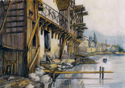 Görlitz - Neißeufer unterhalb der Altstadtbrücke, um 1880
