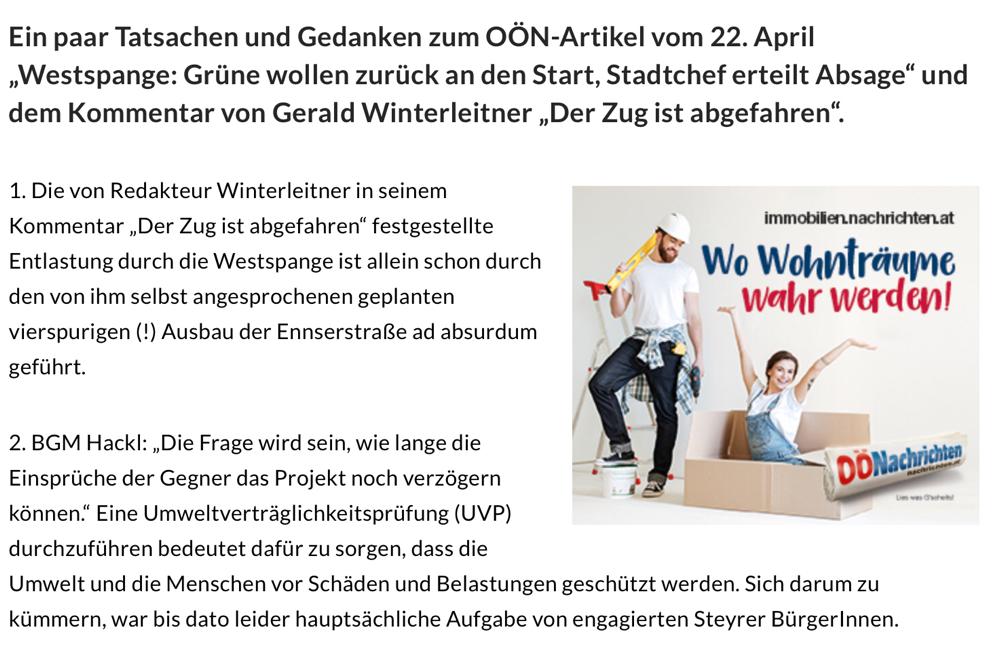 """Leserbrief unseres Obmann Stellvertreters Paul Enzendorfer zum OÖN Artikel vom 22.04.2020 """"Der Zug ist abgefahren"""""""