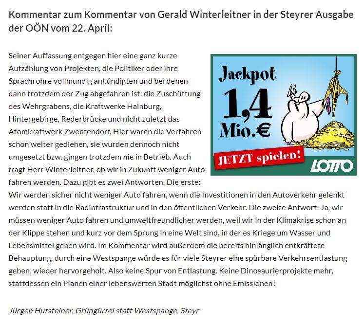 """Leserbrief unseres Obmann STellvertreters Jürgen Hutsteiner zum OÖN Artikel vom 22.04.2020 """"Der Zug ist abgefahren"""""""