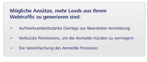 Mögliche Ansätze, mehr Leads aus Ihrem Webtraffic zu generieren sind