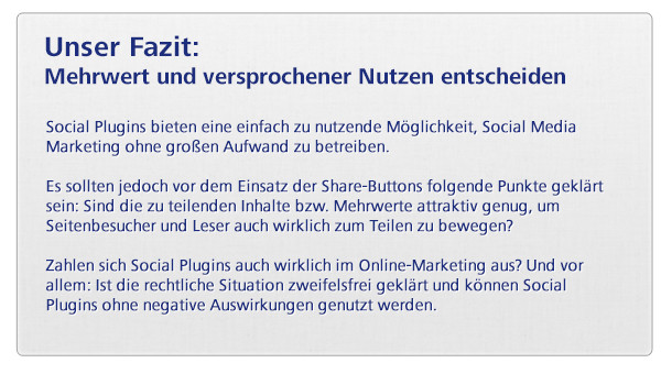Social Media Marketing - Fazit zu Social Plugins