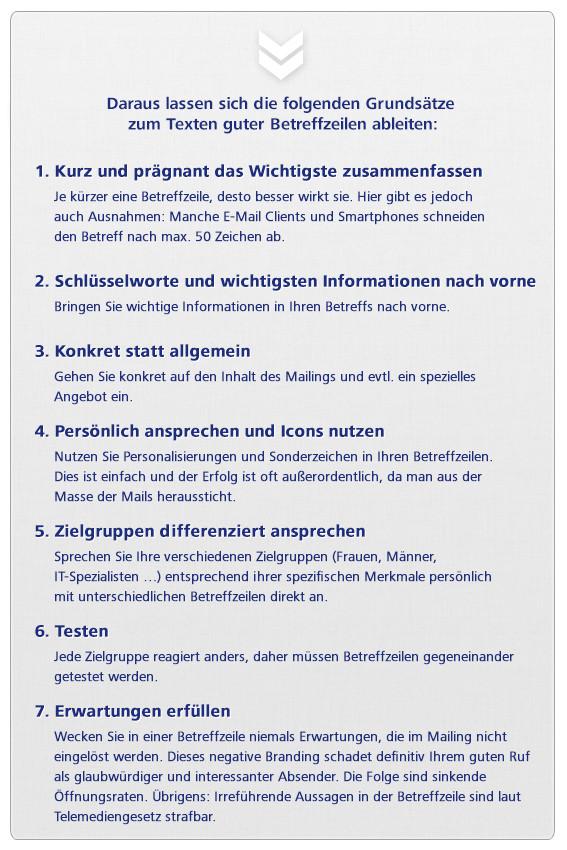 Grundsätze zum Texten guter Betreffzeilen von Mailings oder Newsletter im E-Mail Marketing