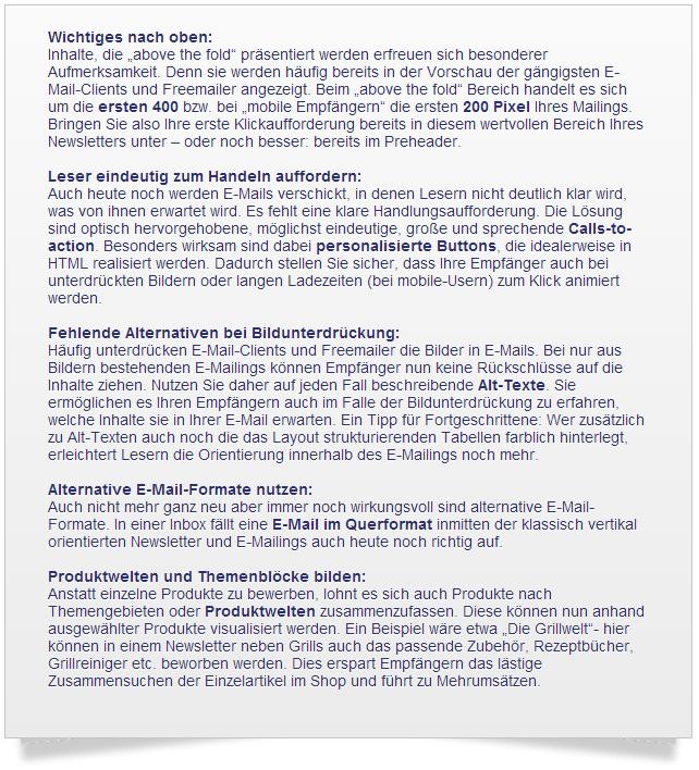 Grundsätze für Designs im E-Mail Marketing