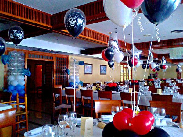 decoración de globos en restaurante