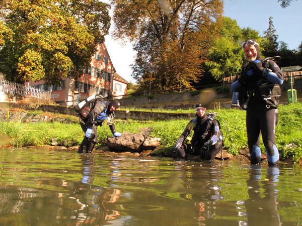 Vier verwegene Taucher machen sich auf, die Herrscher des Rheines zu suchen. Nach Insiderwissen, sollten sich viele hier tummeln und in grossen Rudeln herum schwimmen. Auf auf, schaue mer mal...