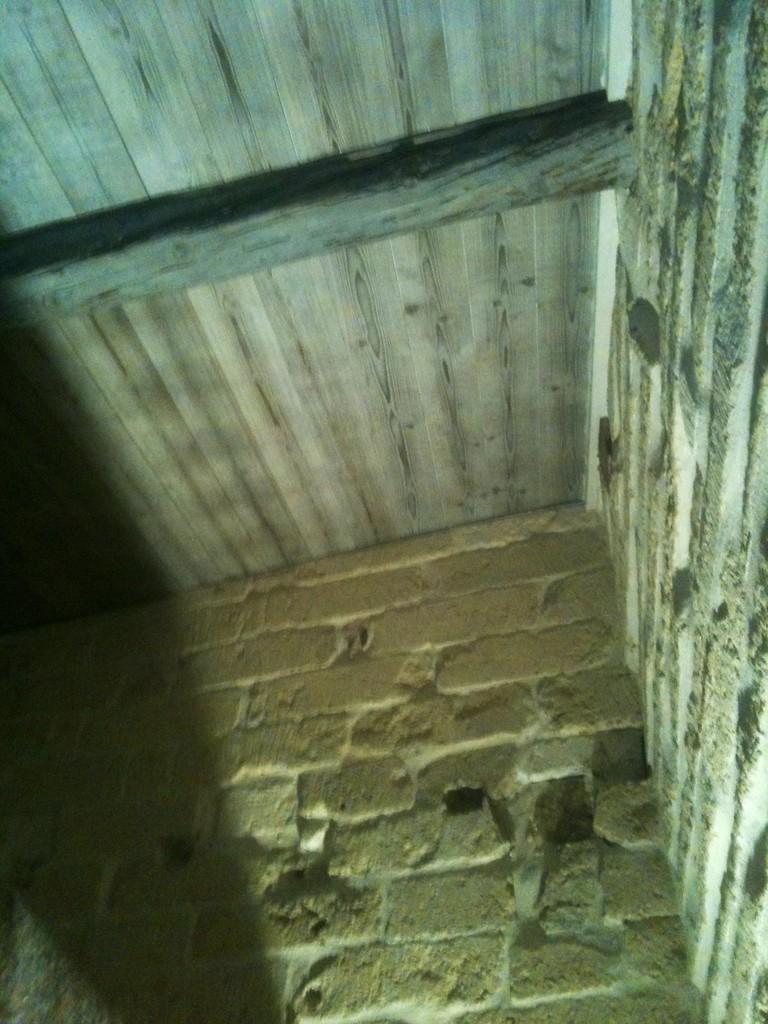 Faux plafond en bardage/ isolation laine de bois / poutre apparente