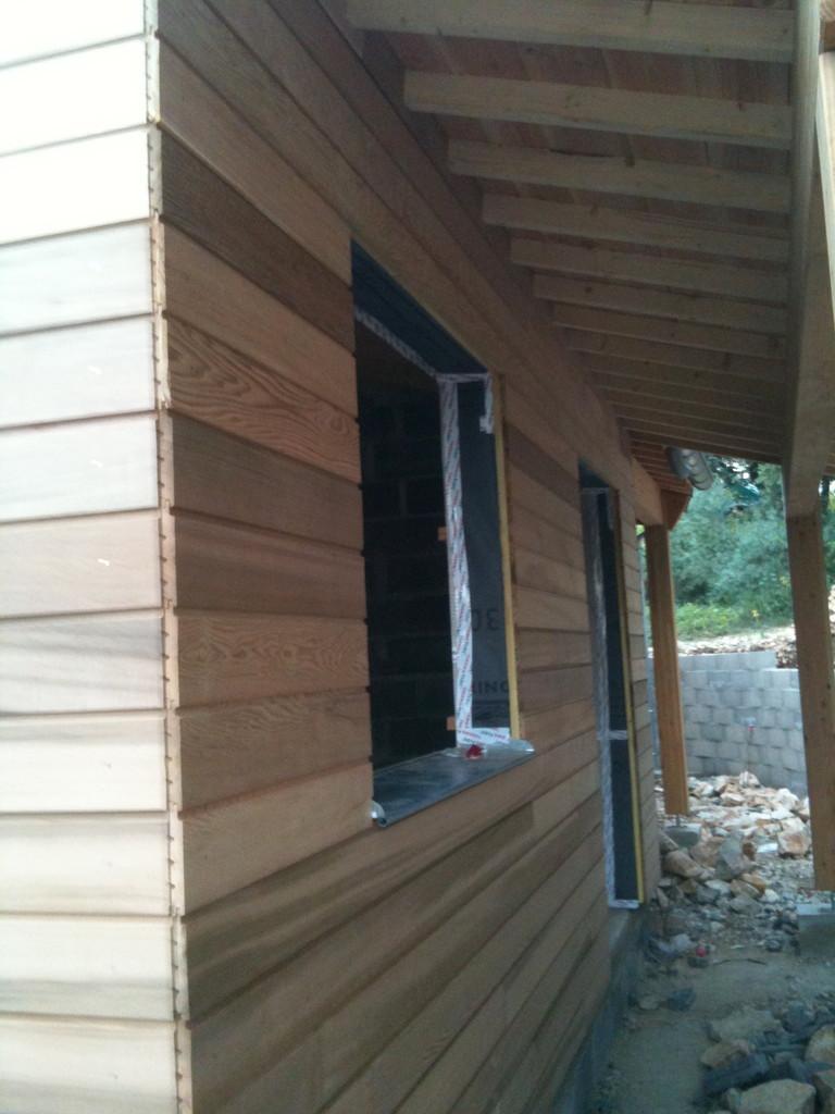 Bardage bois cèdre rouge maison neuve structure bois