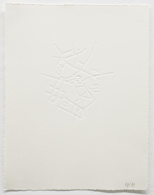 Beate Gärtner | Streets IV, 2013, embossing on handmade paper, 30,5x23,5cm, Foto@Bracht Fotografie