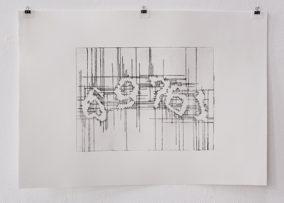 Beate Gärtner | Captcha 69761 |  2015 | etching on handmade paper |  55x65cm | Foto@Matthias Weber