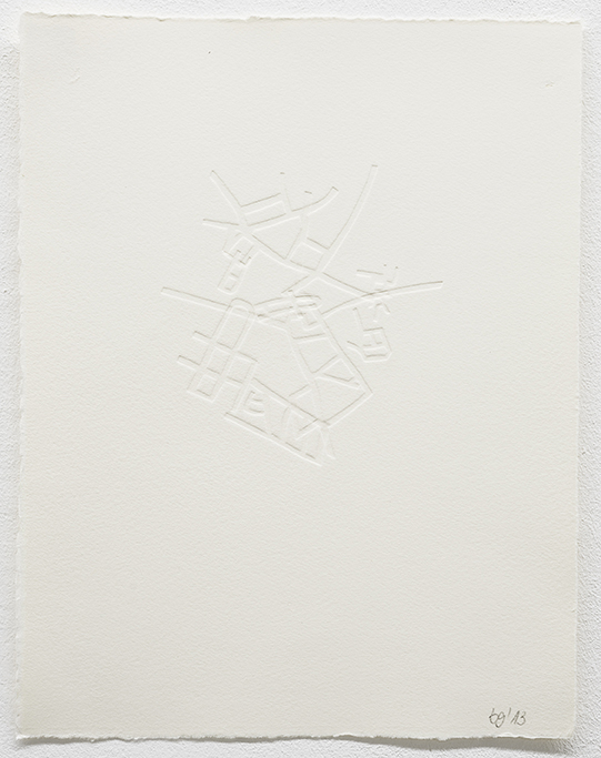 Beate Gärtner | Streets IV | 2013 | Prägedruck auf Büttenpapier | 30,5x23,5cm, | Foto@Bracht Fotografie