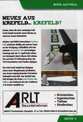 Pressespiegel: Textile Sonderanfertigung Einlauftunnel Werbebanner SC DHFK Leipzig- von FELD Textil GmbH