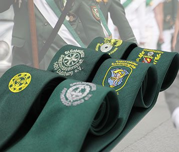 Bestickte Krawatten mit Schützenlogo von Feld Textil GmbH aus Krefeld