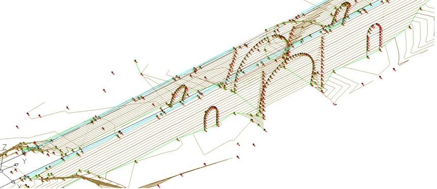 Modelo alámbrico del puente obtenido por topografía