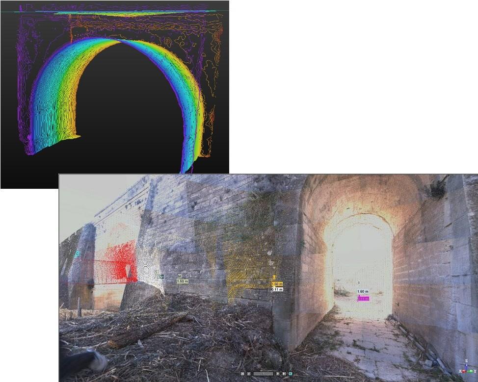 Secciones del ojo principal y detalle de la toma con láser escáner