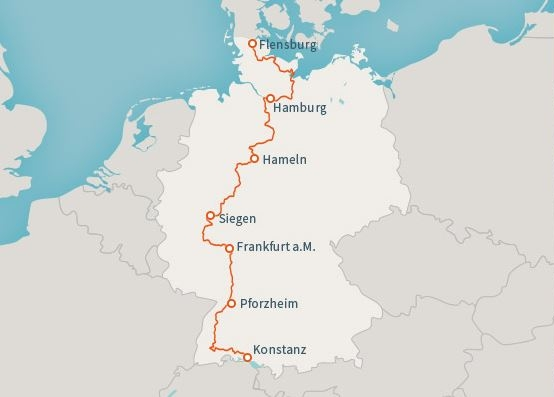 Route des E1 längs durch Deutschland (Quelle: Outdooractive.de)