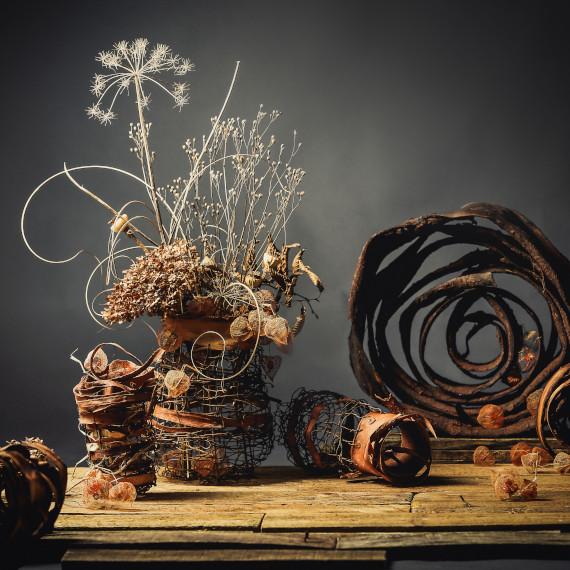 ahornblatt gummersbach floristik kunst abstrakt struktur backhaus tischschmuck natur deko