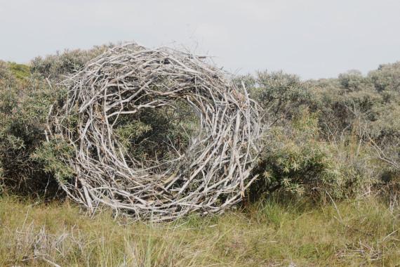 Landart Kunst Floristik Backhaus Ahornblatt Land-Art Landeskunst Landschaftskunst Natural-Sculptures Umweltkunst Zweige-Äste Spiekeroog Sommer