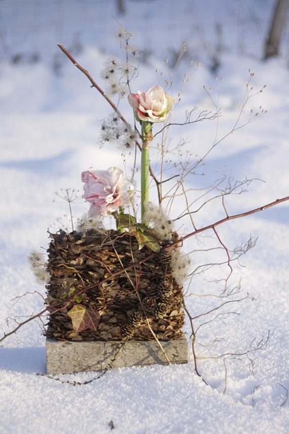 floristk winter blätter landart gummersbach ahornblatt backhaus schnee