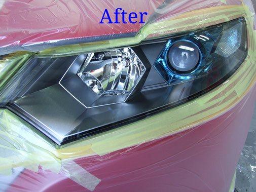 白ボケを除去しヘッドライト用樹脂塗装でリペア