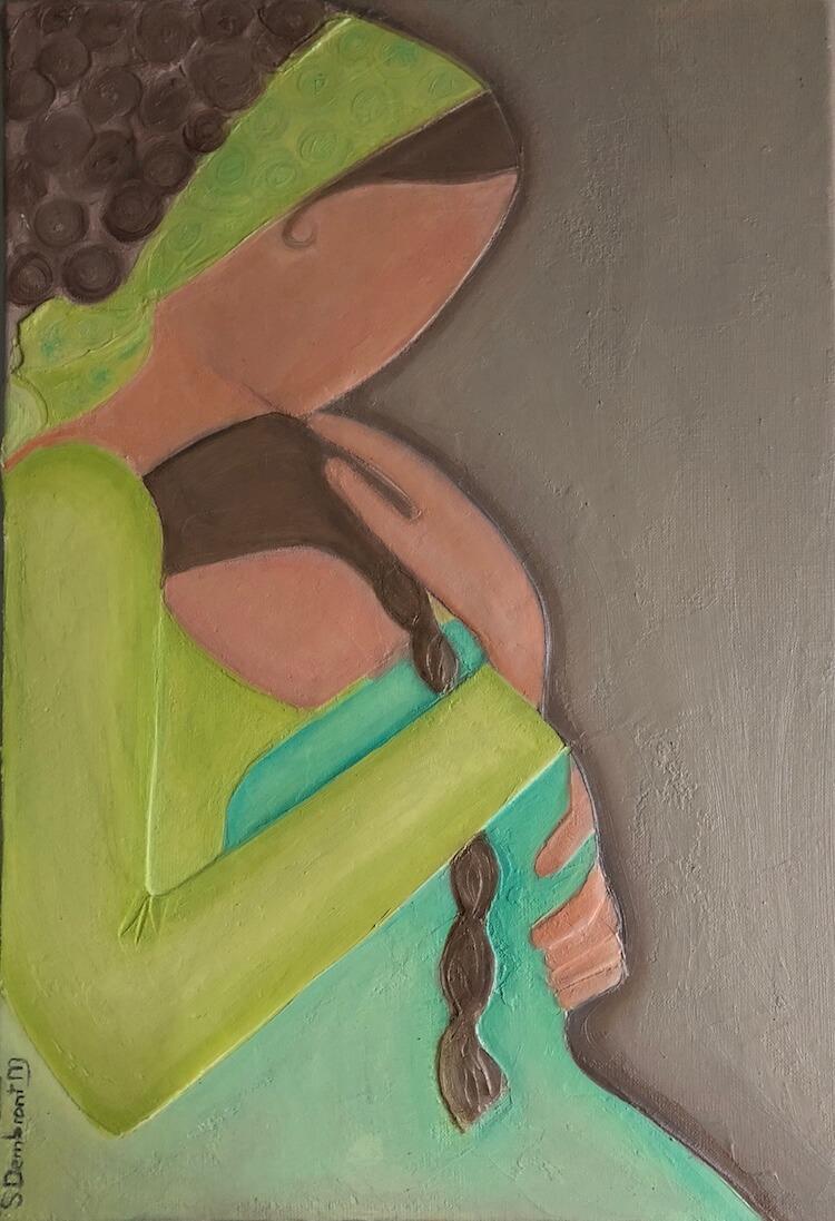 Sylvie DEMBRONT-MENUGE - Technique mixte sur toile - Calin - 55x38cm
