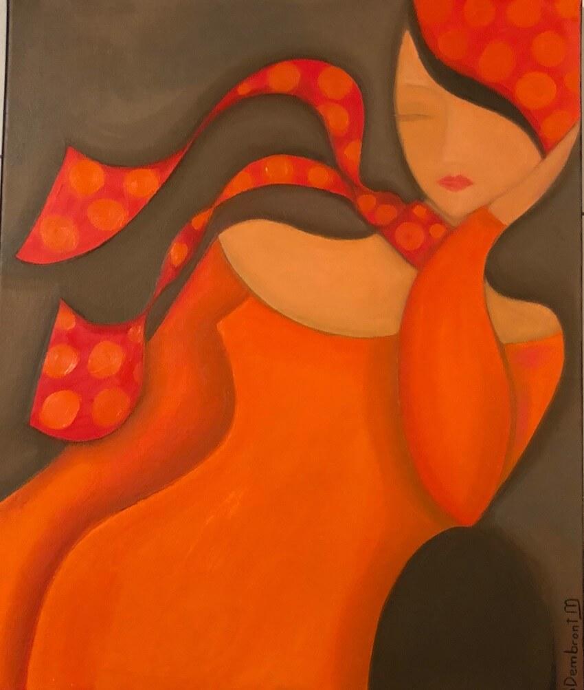 Sylvie DEMBRONT-MENUGE - Technique mixte sur toile - Brise légère - 54x65cm