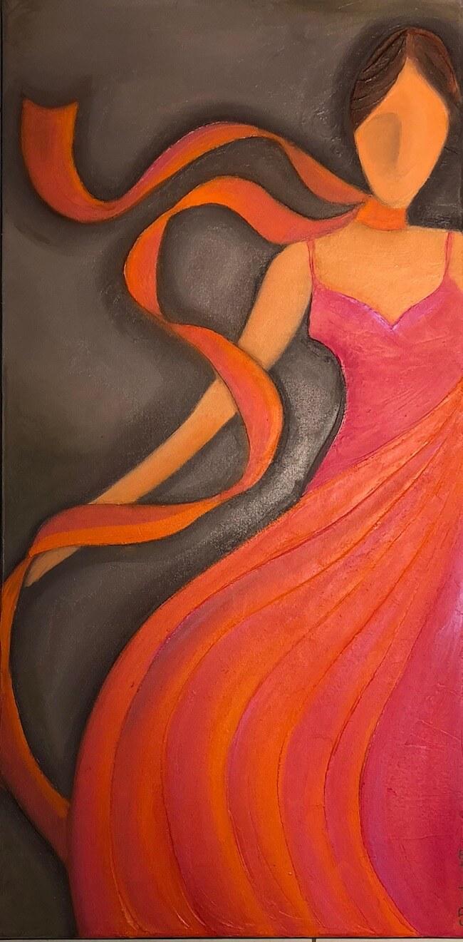 Sylvie DEMBRONT-MENUGE - Technique mixte sur toile - Un soir d'été - 40x80cm - VENDUE