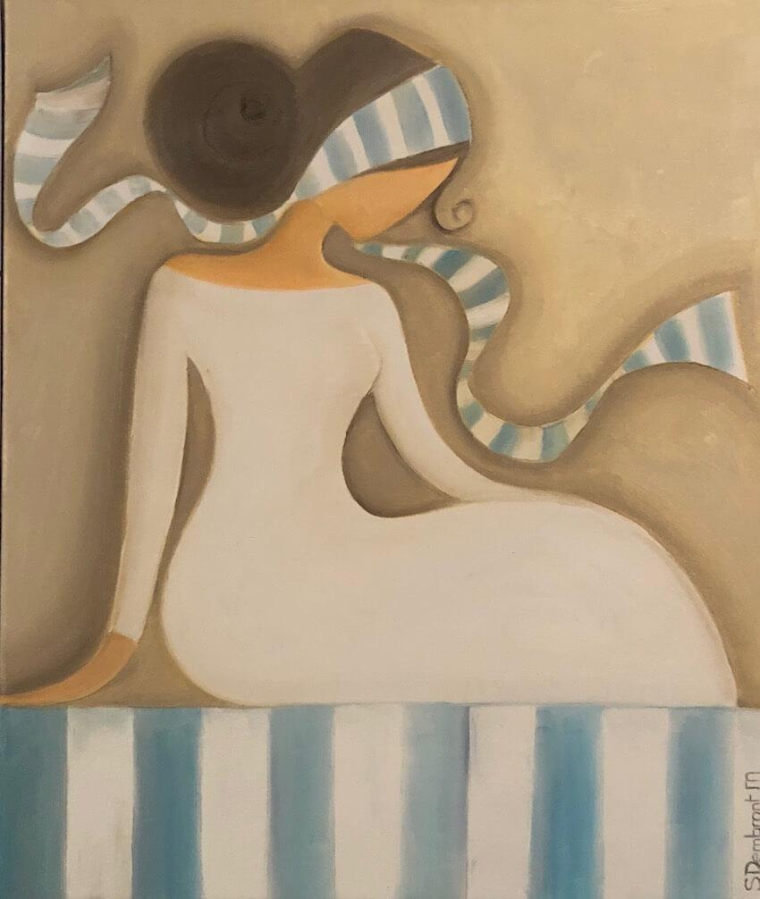 Sylvie DEMBRONT-MENUGE - Technique mixte sur toile -Douce pensée - 46x55cm