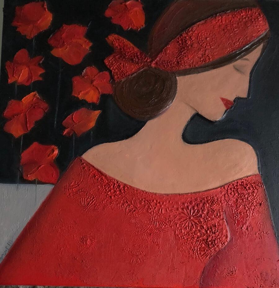 Sylvie DEMBRONT-MENUGE - Technique mixte sur toile - Rêves fleuris - 50x50cm