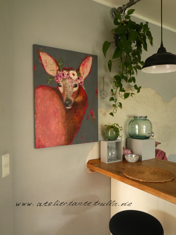 buntes Gemälde Reh mit Blattgold