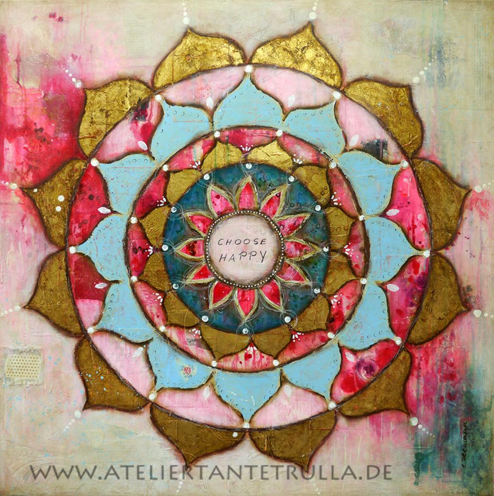 Kunstdruck Mandala mit Blattgold