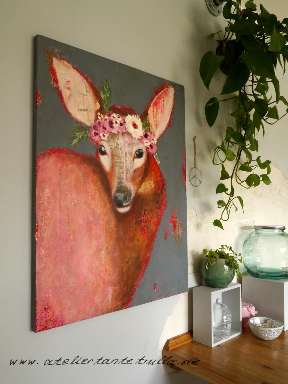 Gemälde Reh mit Blumen von Conni Altmann