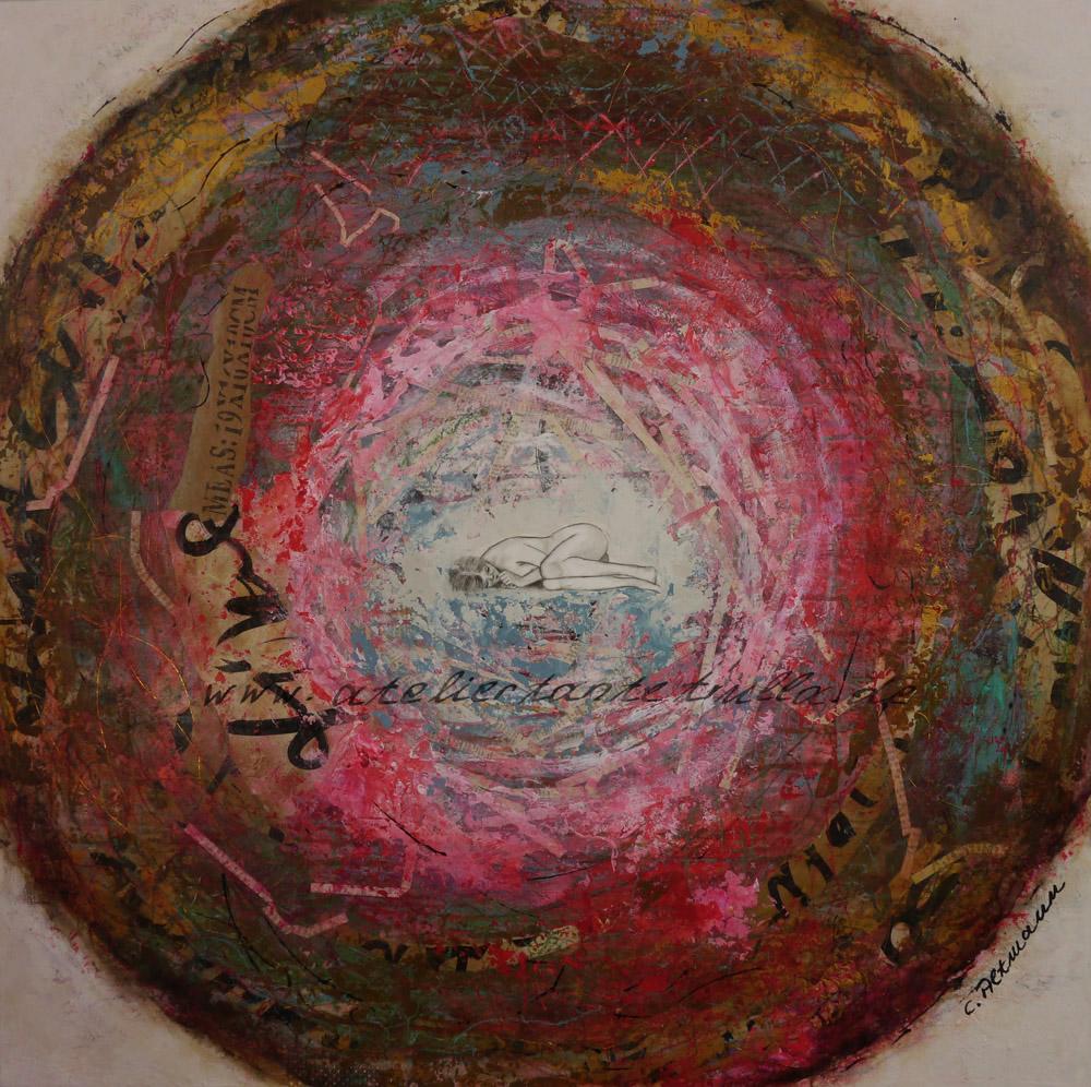 abstraktes, figuratives Gemälde Mädchen liegt in einem Nest von Conni Altmann www.ateliertantetrulla.de