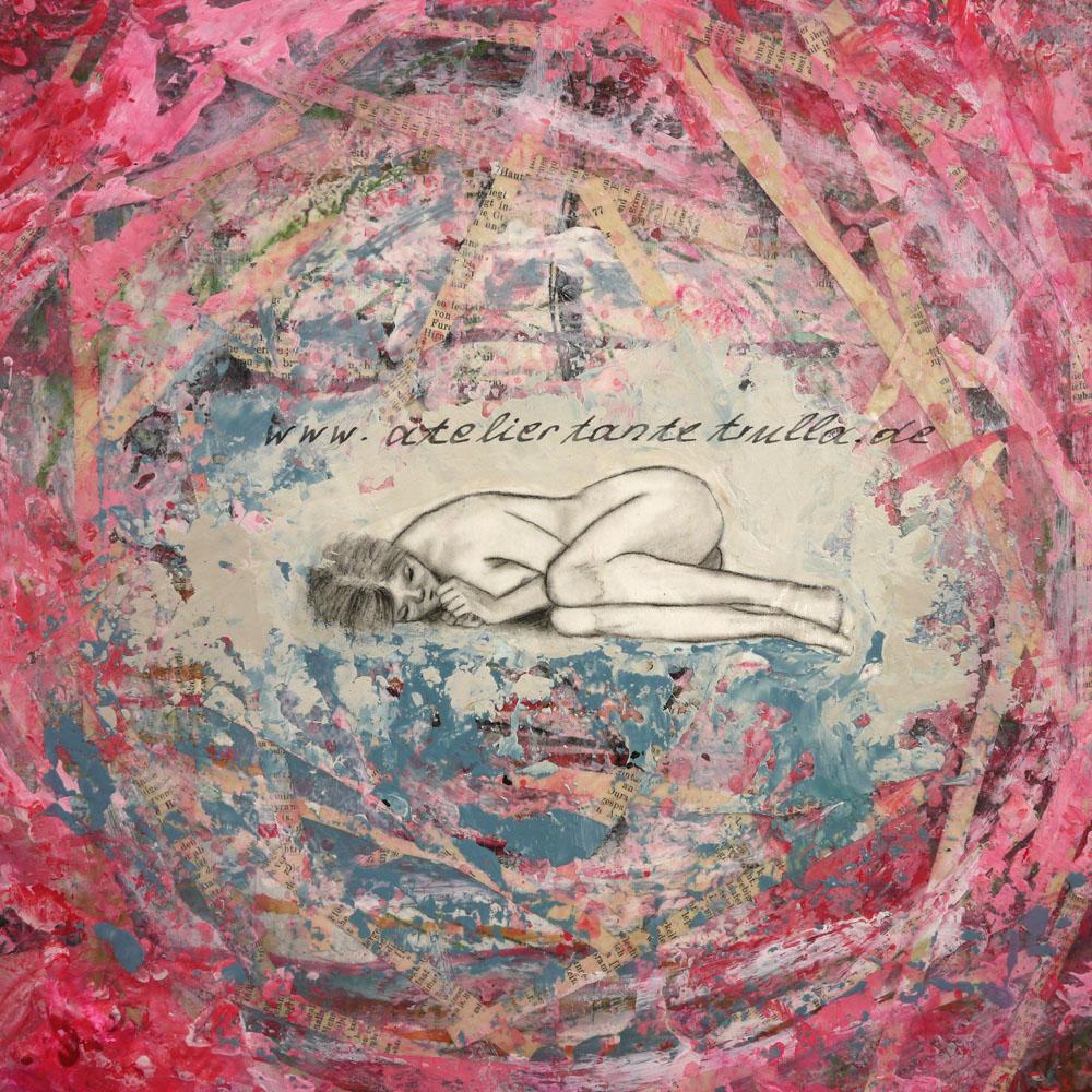 """Detail figuratives Gemälde """"Cocooning"""" Mädchen liegt in einem Nest von Conni Altmann www.ateliertantetrulla.de"""