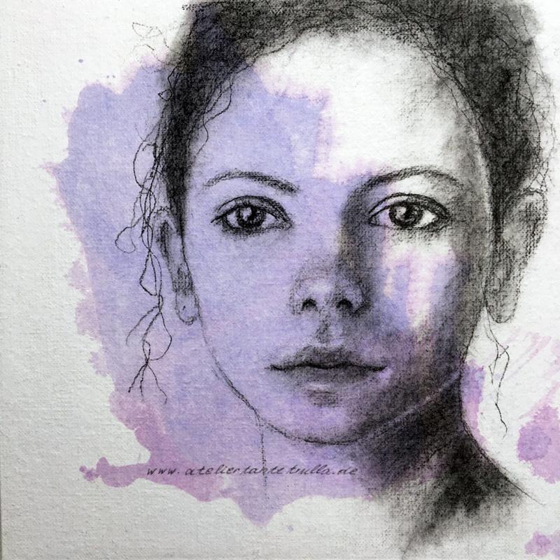 Kohlezeichnung Gesicht Frau