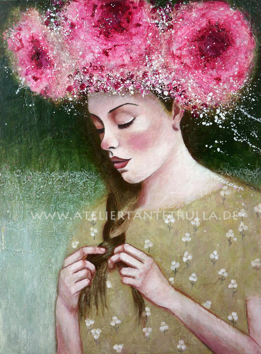 Kunstdruck Mädchen mit Blumen im Haar und geflochtenem Zopf