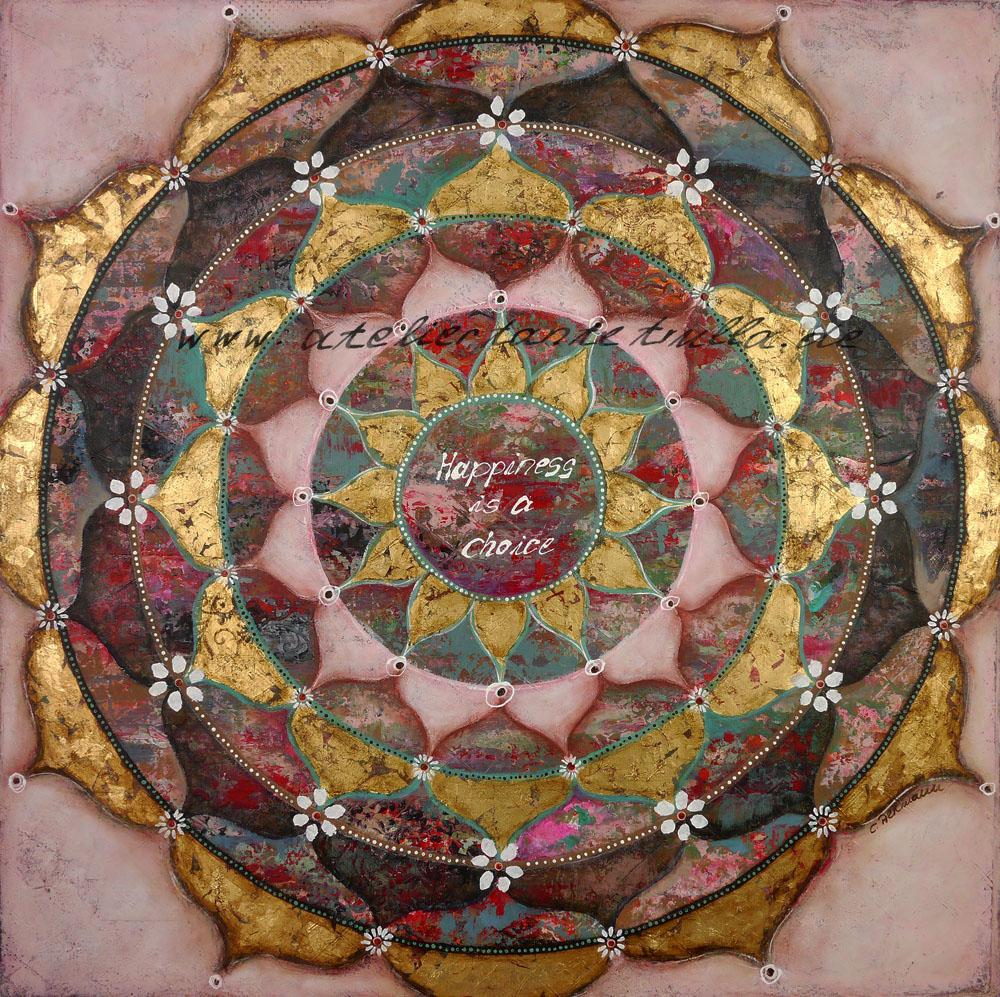 Mandala Gemälde mit Blattgold von Conni Altmann www.ateliertantetrulla.de