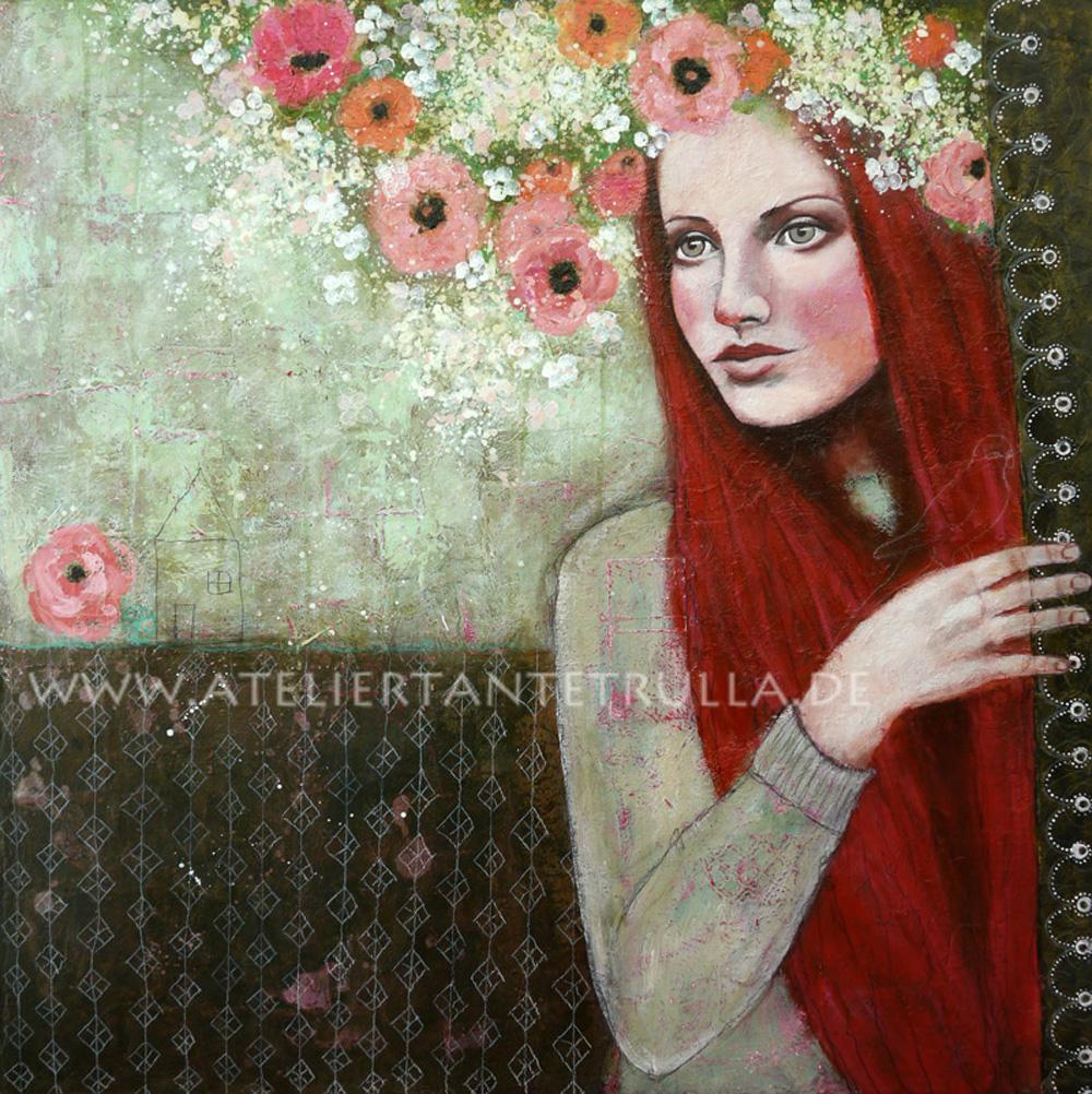 Kunstdruck Portrait Frau mit Blumen im Haar