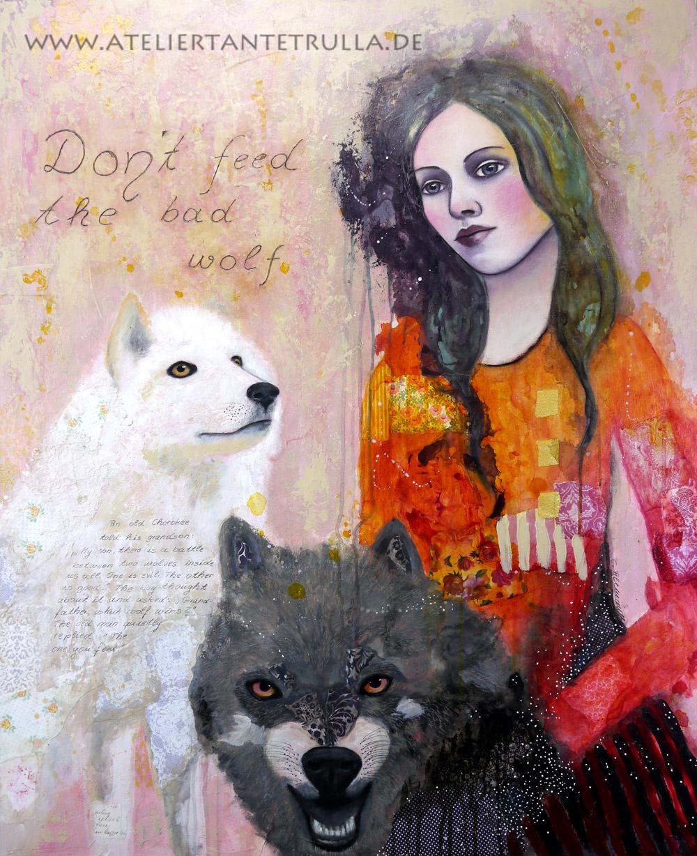 Kunstdruck zwei Wölfe