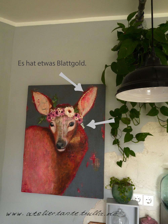Gemälde Reh mit Blumen und etwas Blattgold