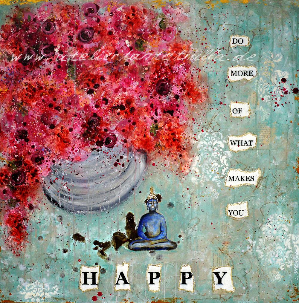 Kunstdruck blauer Buddha Do more of what makes you happy