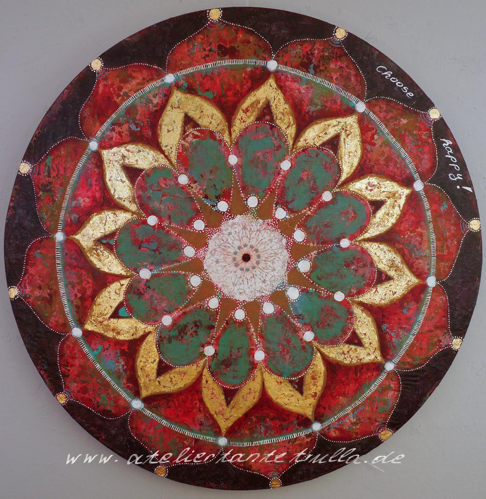 """""""Boho-Mandala"""" von Conni Altmann, ca. 80 cm Durchmesser, Mixed Media mit Blattgold auf Sperrholz"""