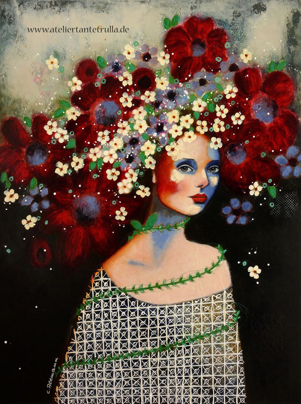 Kunstdruck abstraktes Portrait Frau mit Blumen im Haar