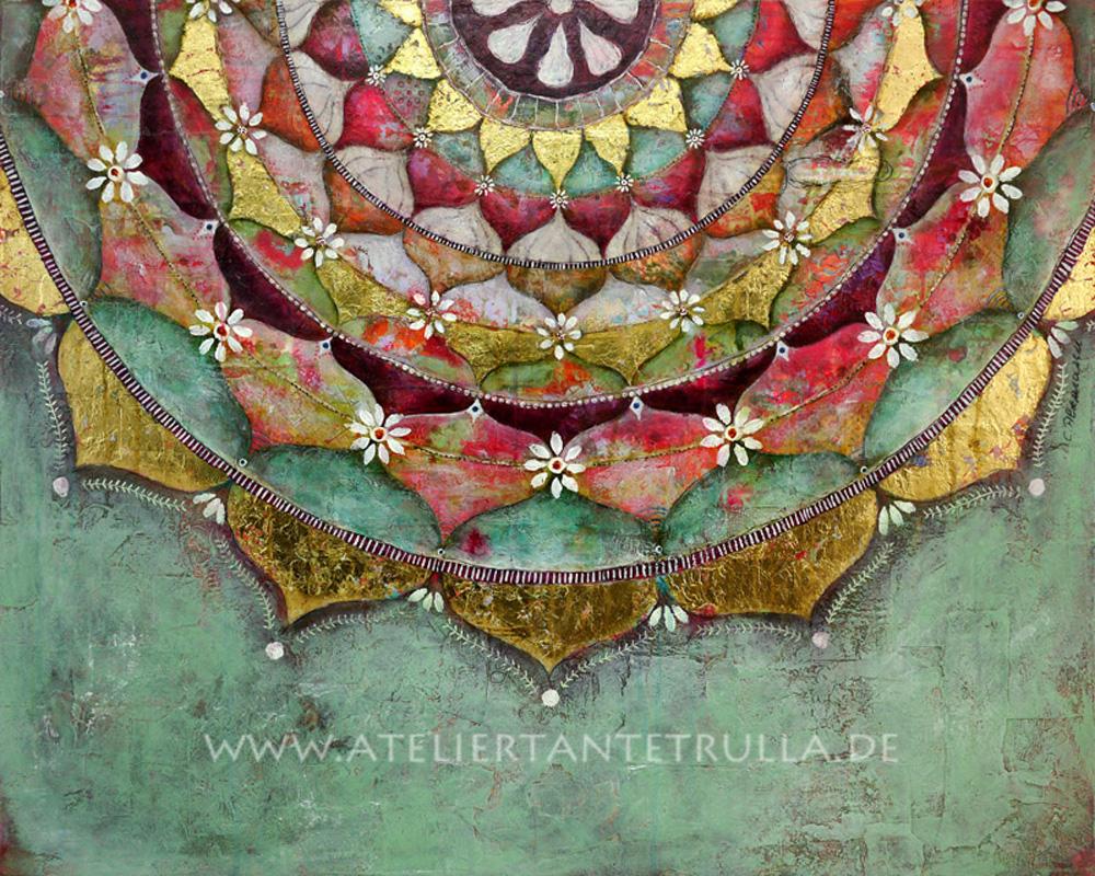 Kunstdruck Mandala lindgrün mit Blattgold Mixed Media