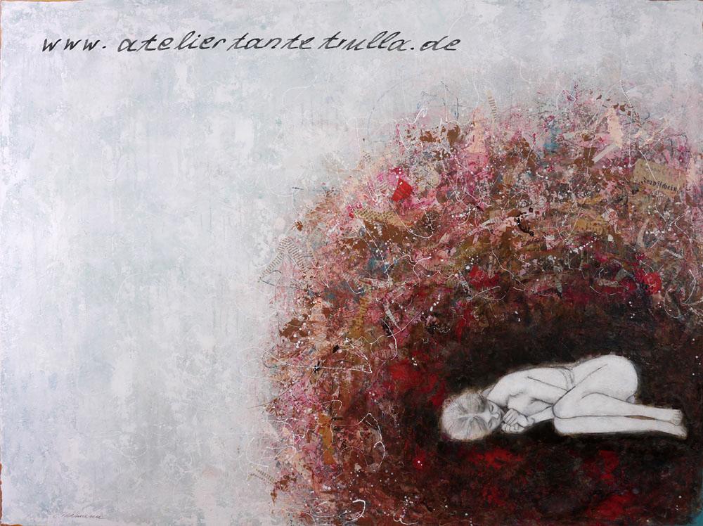 Mixed Media Gemälde Mädchen liegt in einem Nest