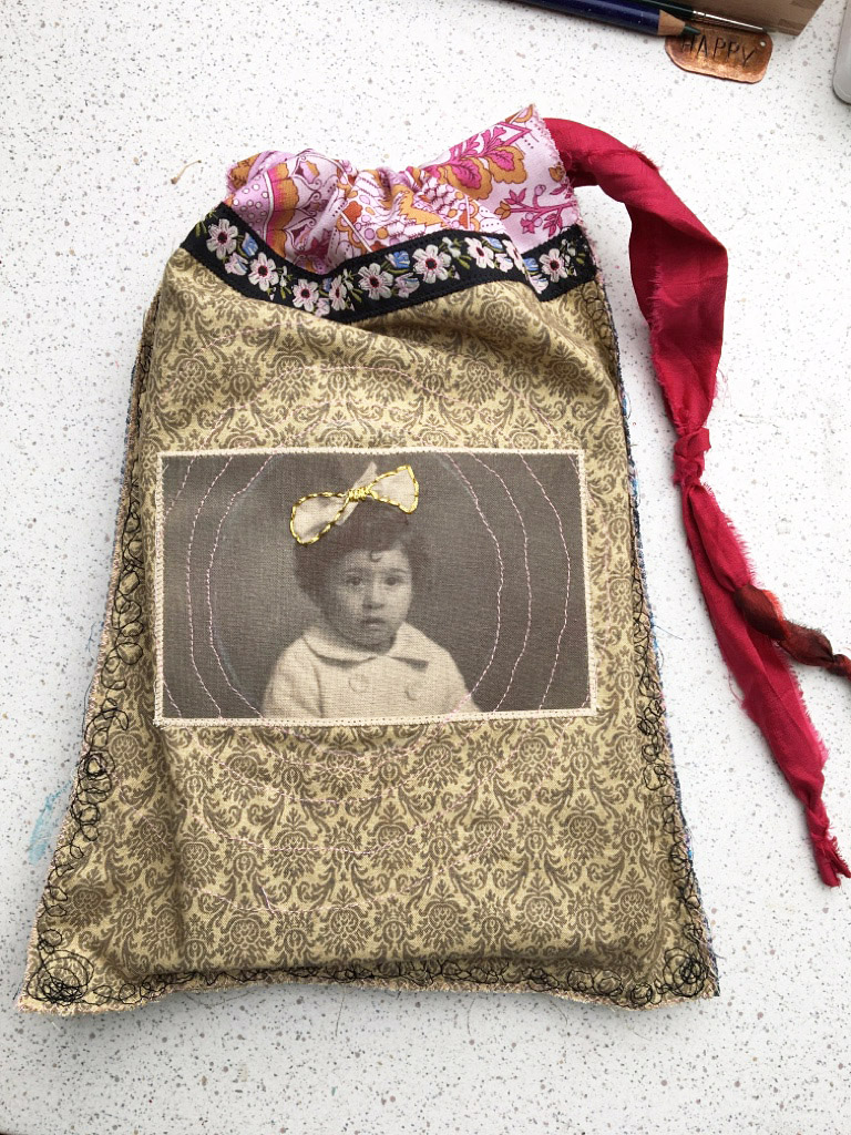 Stoffbeutel genäht mit vintage Foto